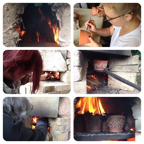 Firing the Nicaraguan style smoking kiln.