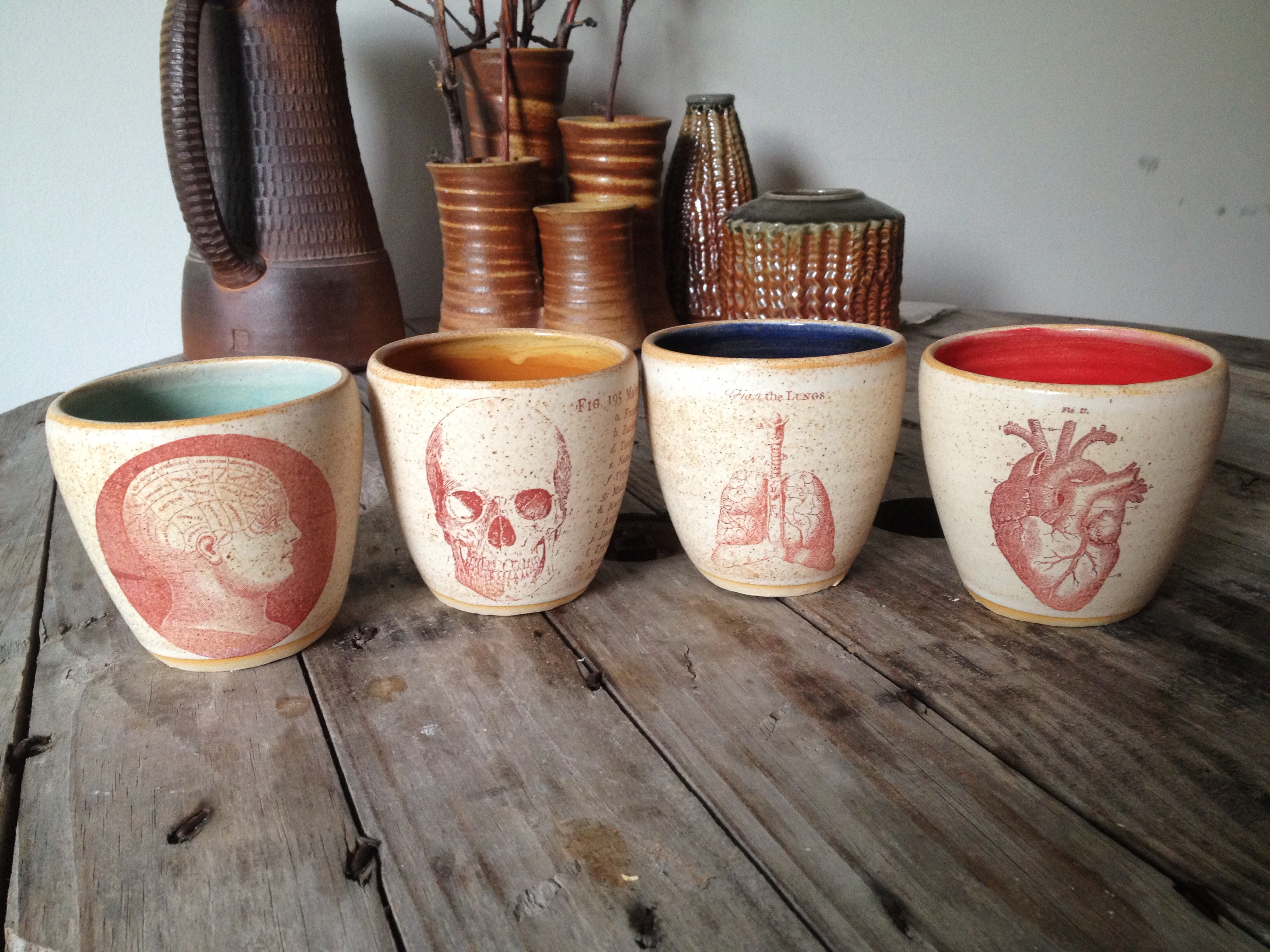 Jennifer Creightons vintage medical illustration wine cups.